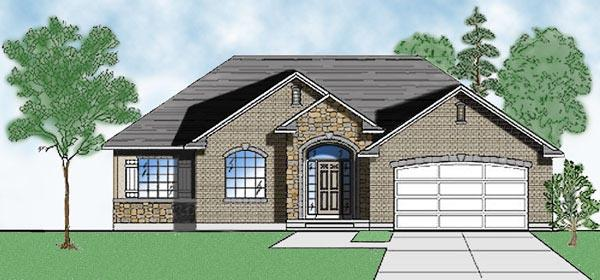 European House Plan 79714 with 3 Beds, 3 Baths, 2 Car Garage Elevation