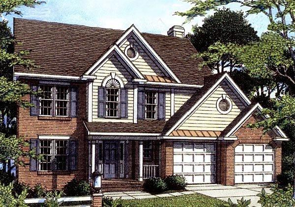 Colonial House Plan 80166 with 3 Beds, 3 Baths, 2 Car Garage Elevation