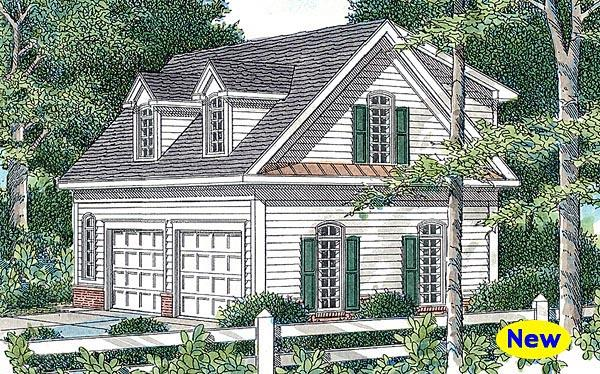 Cape Cod 2 Car Garage Apartment Plan 80249 with 1 Beds, 1 Baths Elevation