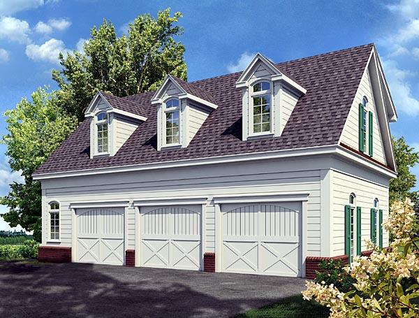 Cottage 3 Car Garage Apartment Plan 80250 with 1 Beds, 1 Baths Elevation