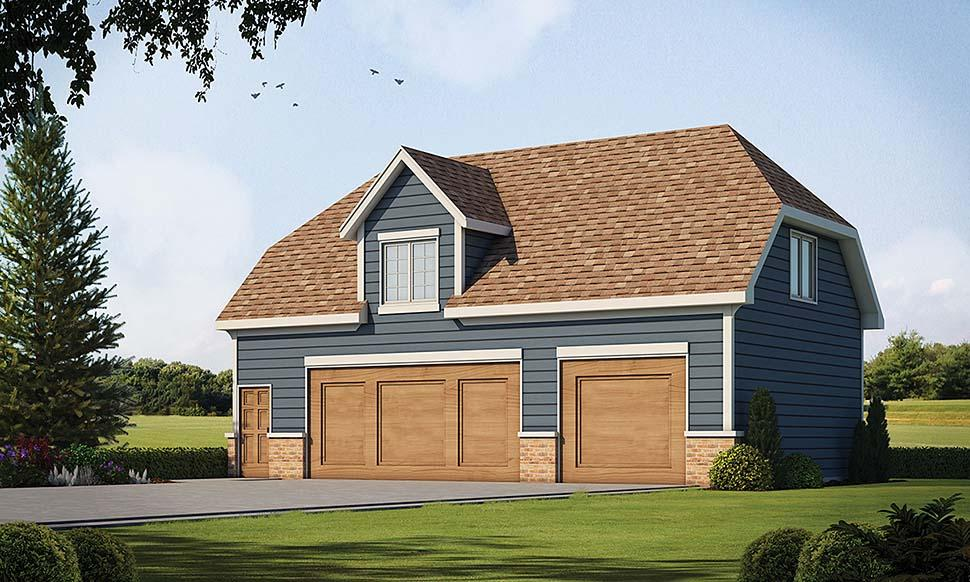 Traditional 2 Car Garage Apartment Plan 80426 with 1 Beds, 1 Baths Elevation