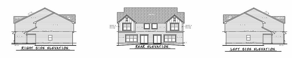 Traditional Multi-Family Plan 80445 with 6 Beds, 6 Baths, 4 Car Garage Rear Elevation