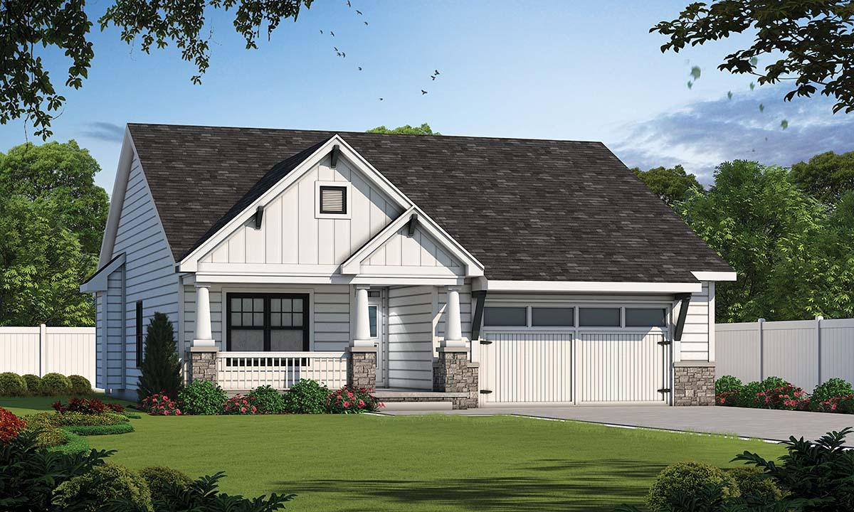 Cottage, Craftsman, Traditional House Plan 80498 with 3 Beds, 2 Baths, 2 Car Garage Elevation
