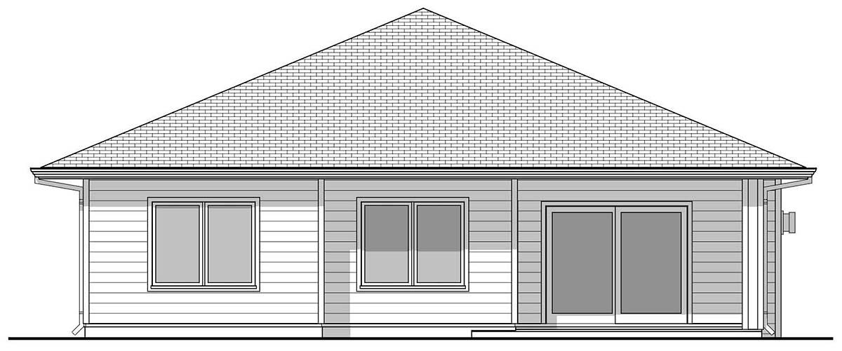 Traditional House Plan 80506 with 4 Beds, 3 Baths, 2 Car Garage Rear Elevation
