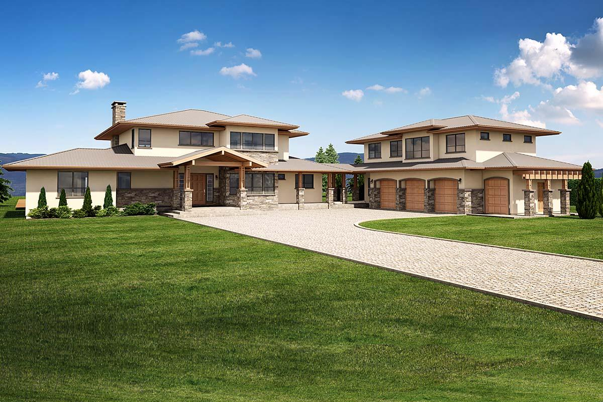 Coastal, Contemporary, Country, Craftsman House Plan 80511 with 4 Beds, 4 Baths, 3 Car Garage Elevation
