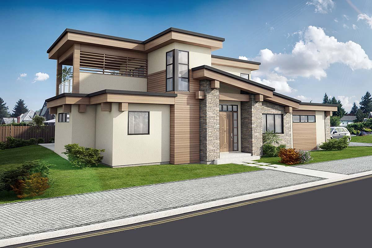 Contemporary, Modern House Plan 80513 with 3 Beds, 3 Baths, 2 Car Garage Elevation