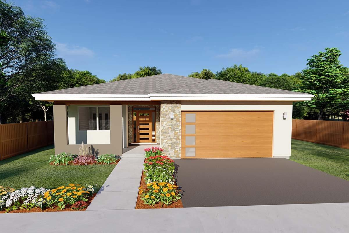 Bungalow, Contemporary, Prairie House Plan 80514 with 3 Beds, 2 Baths, 2 Car Garage Elevation