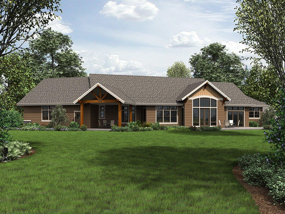 Craftsman, Ranch House Plan 81200 with 3 Beds, 3 Baths, 3 Car Garage Rear Elevation