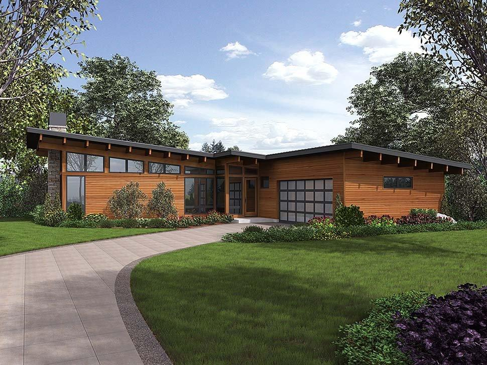 Contemporary House Plan 81224 with 3 Beds, 3 Baths, 2 Car Garage Elevation