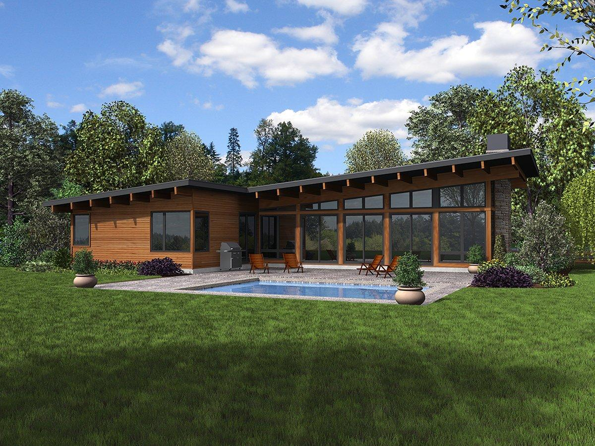 Contemporary House Plan 81224 with 3 Beds, 3 Baths, 2 Car Garage Rear Elevation