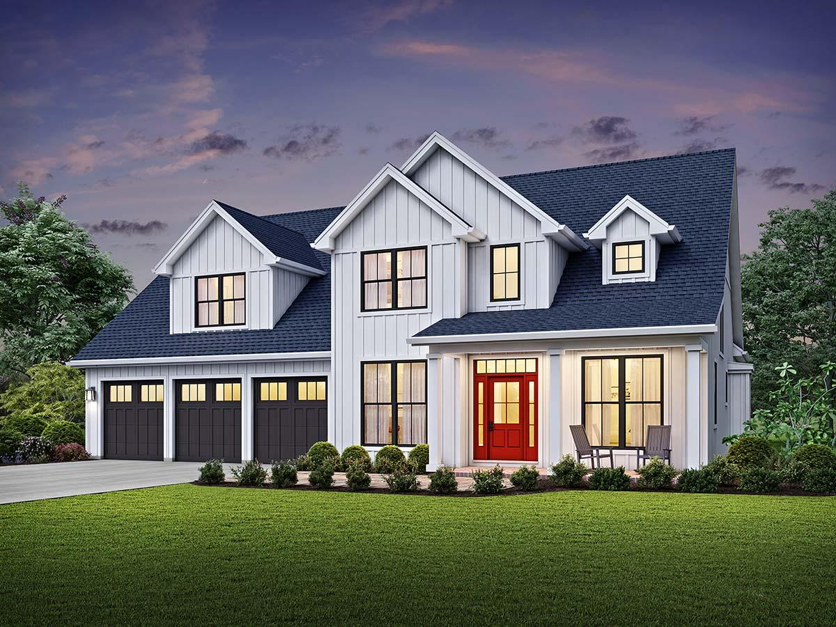 Country, Farmhouse, Traditional House Plan 81244 with 4 Beds, 4 Baths, 3 Car Garage Elevation