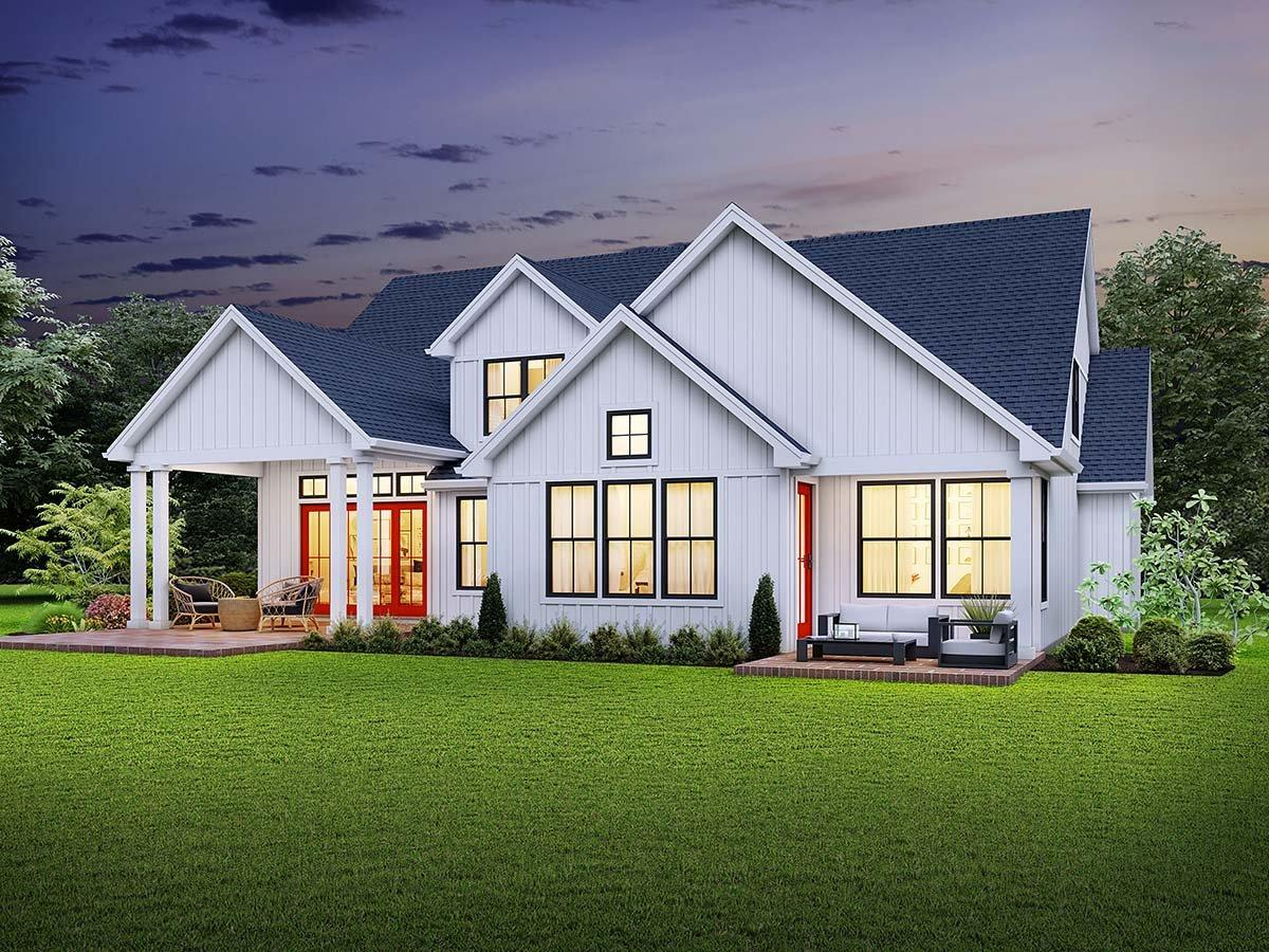 Country, Farmhouse, Traditional House Plan 81244 with 4 Beds, 4 Baths, 3 Car Garage Rear Elevation