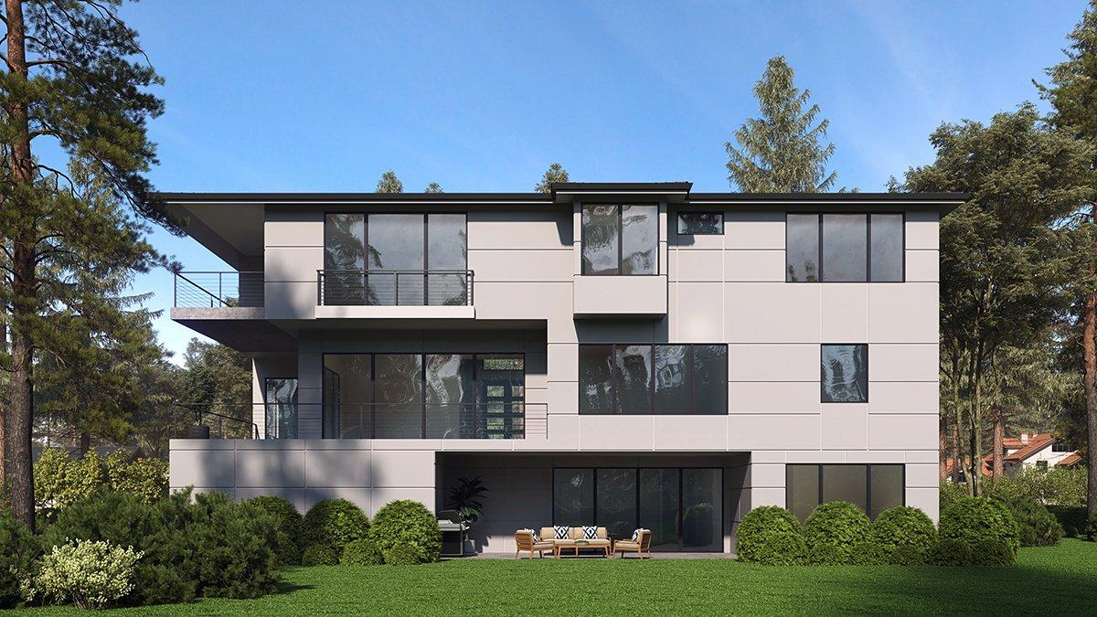 Contemporary, Modern House Plan 81957 with 4 Beds, 6 Baths, 4 Car Garage Rear Elevation