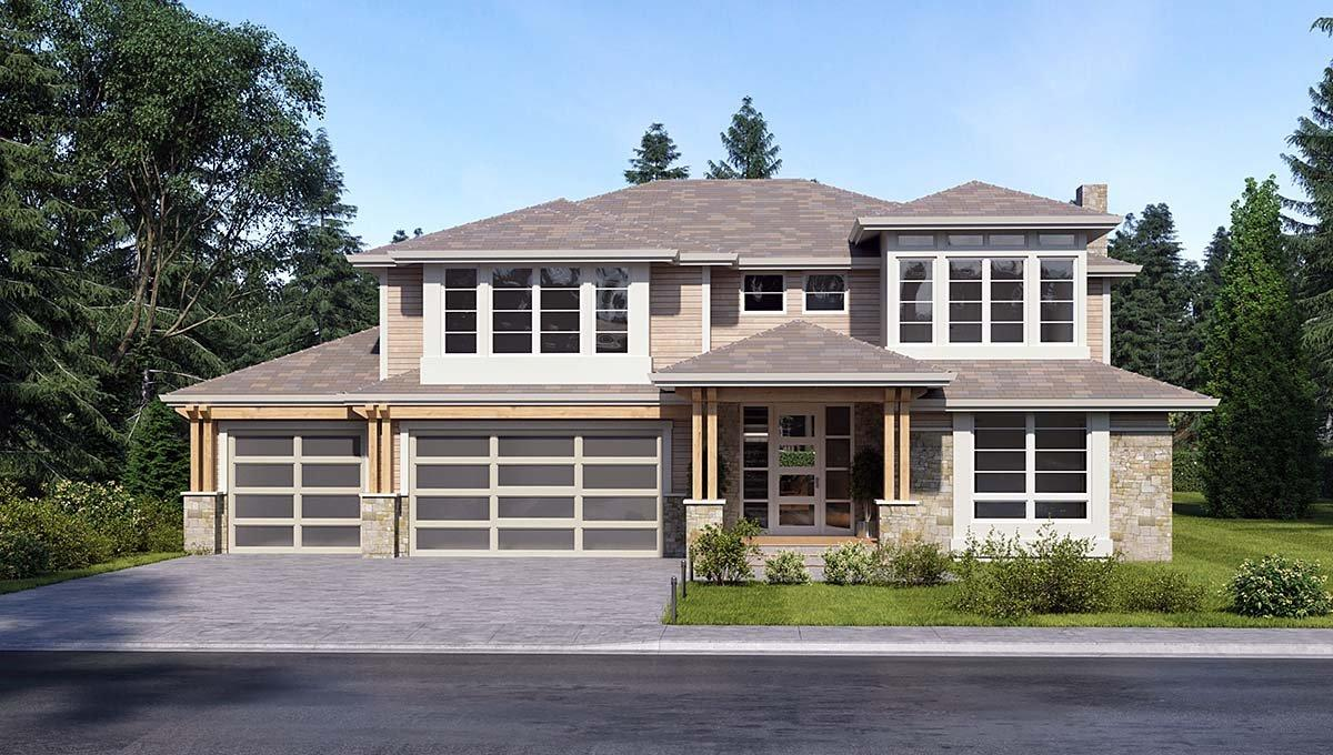 Colonial, Contemporary, Traditional House Plan 81960 with 3 Beds, 4 Baths, 3 Car Garage Elevation