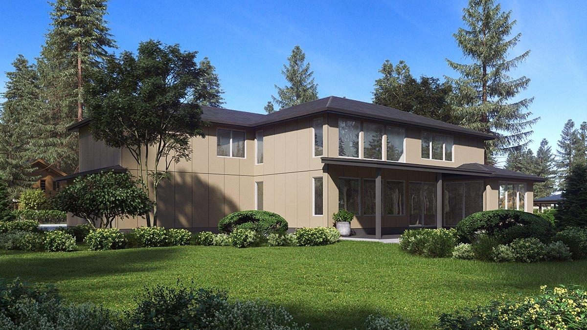 Contemporary, Modern House Plan 81961 with 4 Beds, 3 Baths, 3 Car Garage Rear Elevation
