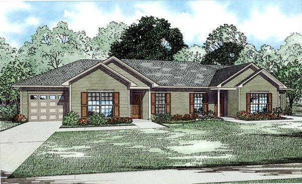 Traditional Multi-Family Plan 82252 with 4 Beds, 2 Baths, 2 Car Garage Elevation