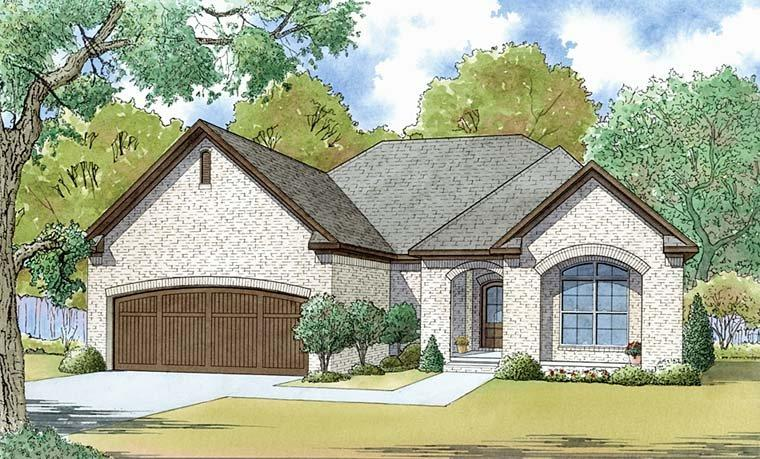 European, Southern, Traditional House Plan 82461 with 3 Beds, 2 Baths, 2 Car Garage Elevation