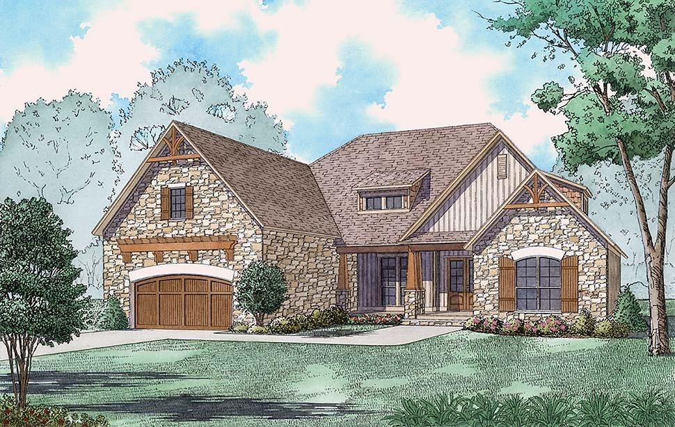 Bungalow, Craftsman, European, French Country, Southern, Traditional House Plan 82501 with 3 Beds, 4 Baths, 2 Car Garage Elevation