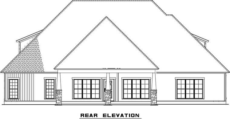 Bungalow, Craftsman, European, French Country, Southern, Traditional House Plan 82501 with 3 Beds, 4 Baths, 2 Car Garage Rear Elevation