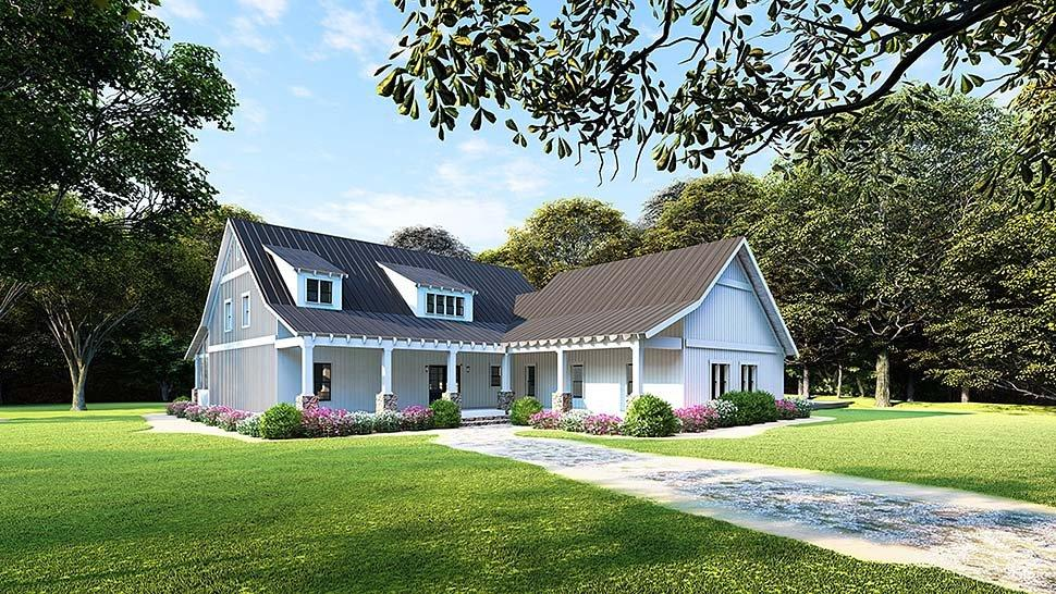 Country, Ranch House Plan 82508 with 3 Beds, 2 Baths, 2 Car Garage Elevation