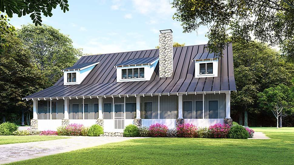 Country, Ranch House Plan 82508 with 3 Beds, 2 Baths, 2 Car Garage Rear Elevation