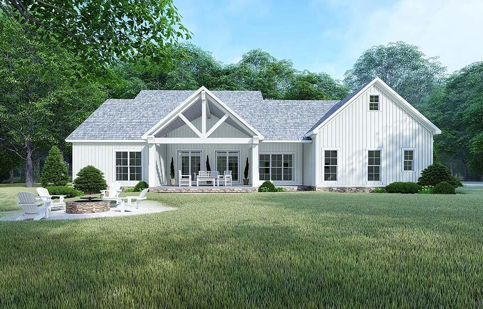 Bungalow, Country, Craftsman, Farmhouse, Modern, Traditional House Plan 82525 with 4 Beds, 4 Baths, 2 Car Garage Rear Elevation