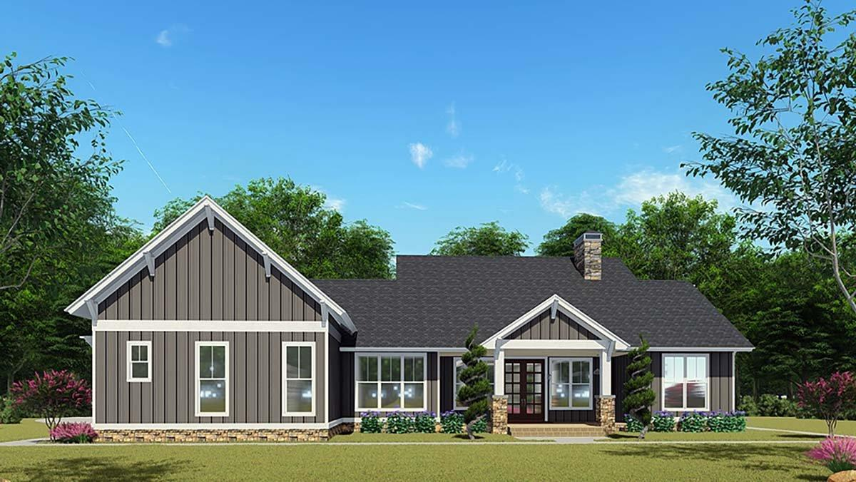 Bungalow, Country, Craftsman, Farmhouse House Plan 82541 with 3 Beds, 3 Baths, 2 Car Garage Rear Elevation