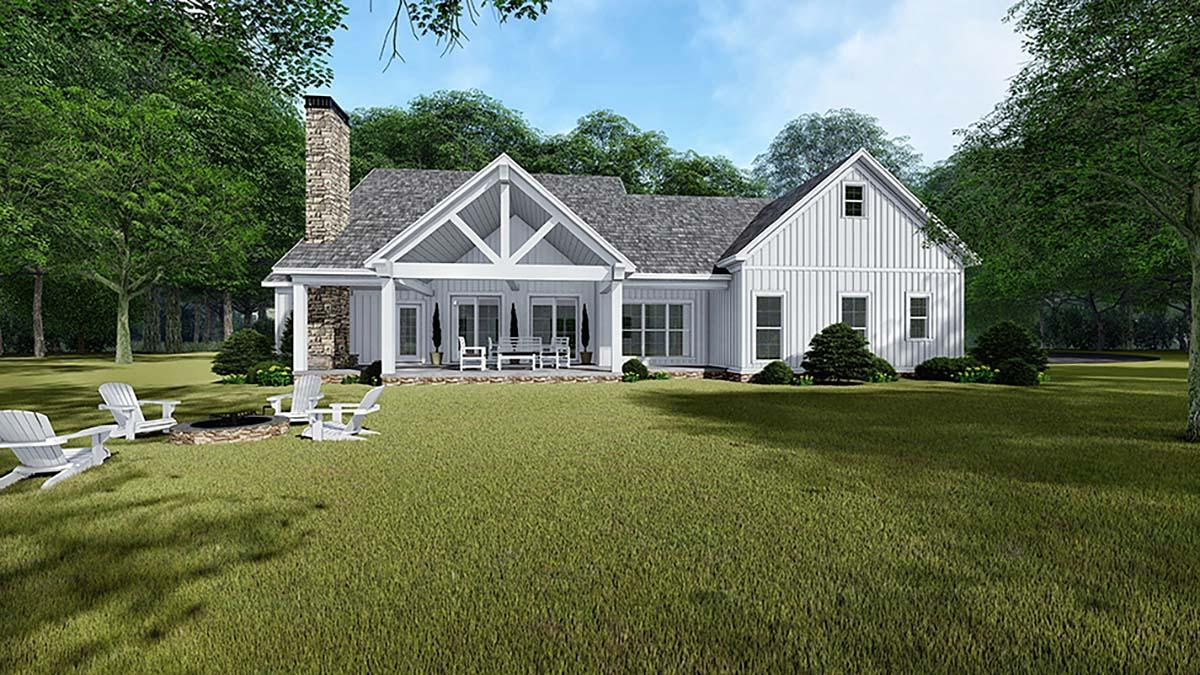 Bungalow, Country, Craftsman, Farmhouse House Plan 82542 with 3 Beds, 3 Baths, 2 Car Garage Rear Elevation