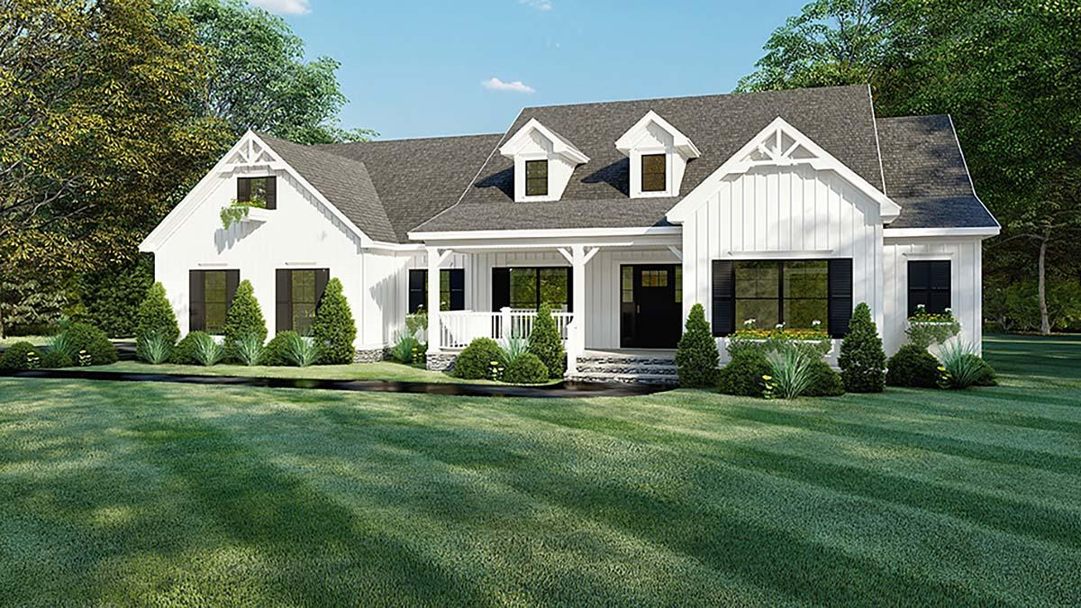Bungalow, Craftsman, Farmhouse, One-Story House Plan 82560 with 4 Beds, 4 Baths, 2 Car Garage Elevation