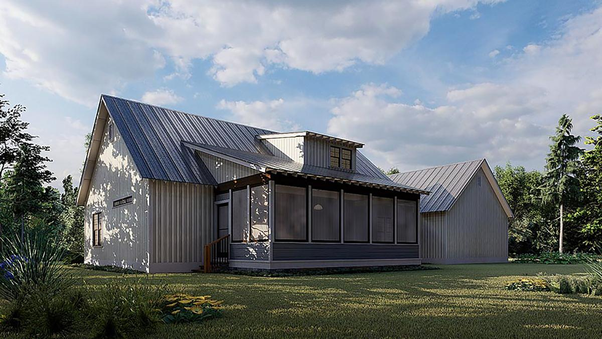 Contemporary, Country, Farmhouse House Plan 82576 with 3 Beds, 3 Baths, 3 Car Garage Rear Elevation