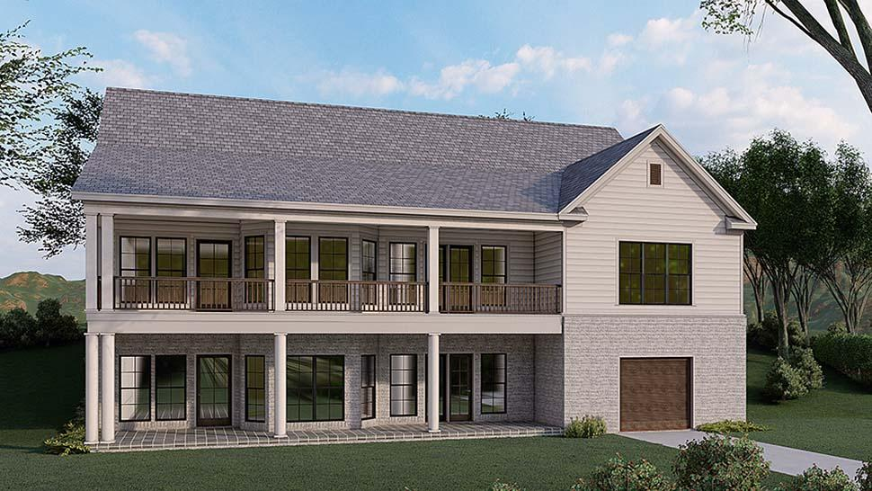 Traditional House Plan 82580 with 3 Beds, 4 Baths, 2 Car Garage Rear Elevation