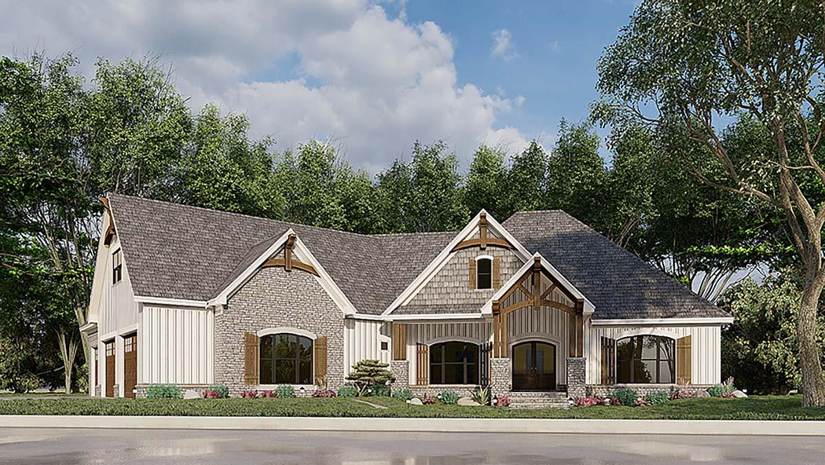 Bungalow, Craftsman, French Country House Plan 82583 with 3 Beds, 2 Baths, 3 Car Garage Elevation