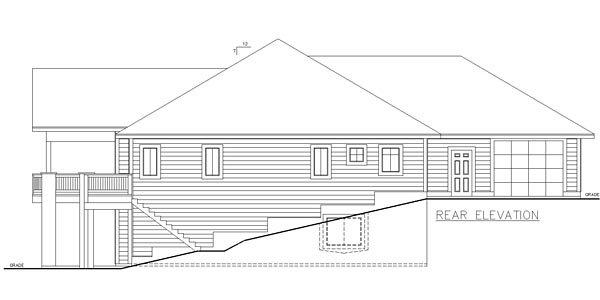 Bungalow, Contemporary, Craftsman, Traditional House Plan 85235 with 5 Beds, 4 Baths, 3 Car Garage Rear Elevation