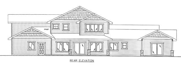 Bungalow, Craftsman, Traditional House Plan 85261 with 5 Beds, 5 Baths, 2 Car Garage Rear Elevation