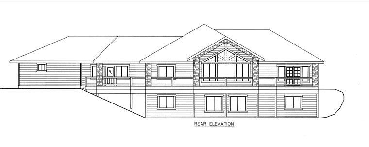 House Plan 85843 with 4 Beds, 4 Baths, 3 Car Garage Rear Elevation