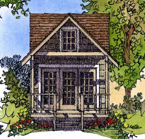 Cabin, Craftsman, Narrow Lot, One-Story House Plan 86025 with 1 Beds, 1 Baths Elevation