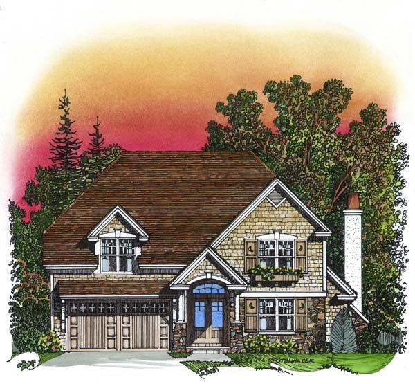 Traditional House Plan 86043 with 3 Beds, 3 Baths, 2 Car Garage Elevation