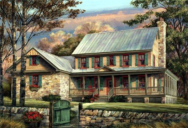 Country, Farmhouse, Southern House Plan 86144 with 5 Beds, 4 Baths, 2 Car Garage Elevation