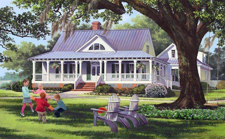 Country, Farmhouse, Traditional House Plan 86189 with 4 Beds, 3 Baths, 2 Car Garage Elevation