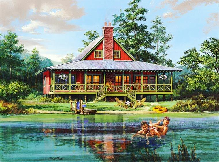 Cabin, Contemporary, Country, Southern House Plan 86202 with 2 Beds, 2 Baths, 2 Car Garage Elevation
