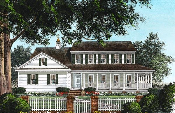 Colonial, Country, Farmhouse, Southern House Plan 86230 with 3 Beds, 3 Baths, 2 Car Garage Elevation