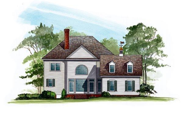 Colonial, Farmhouse, Southern, Victorian House Plan 86280 with 4 Beds, 4 Baths, 2 Car Garage Rear Elevation