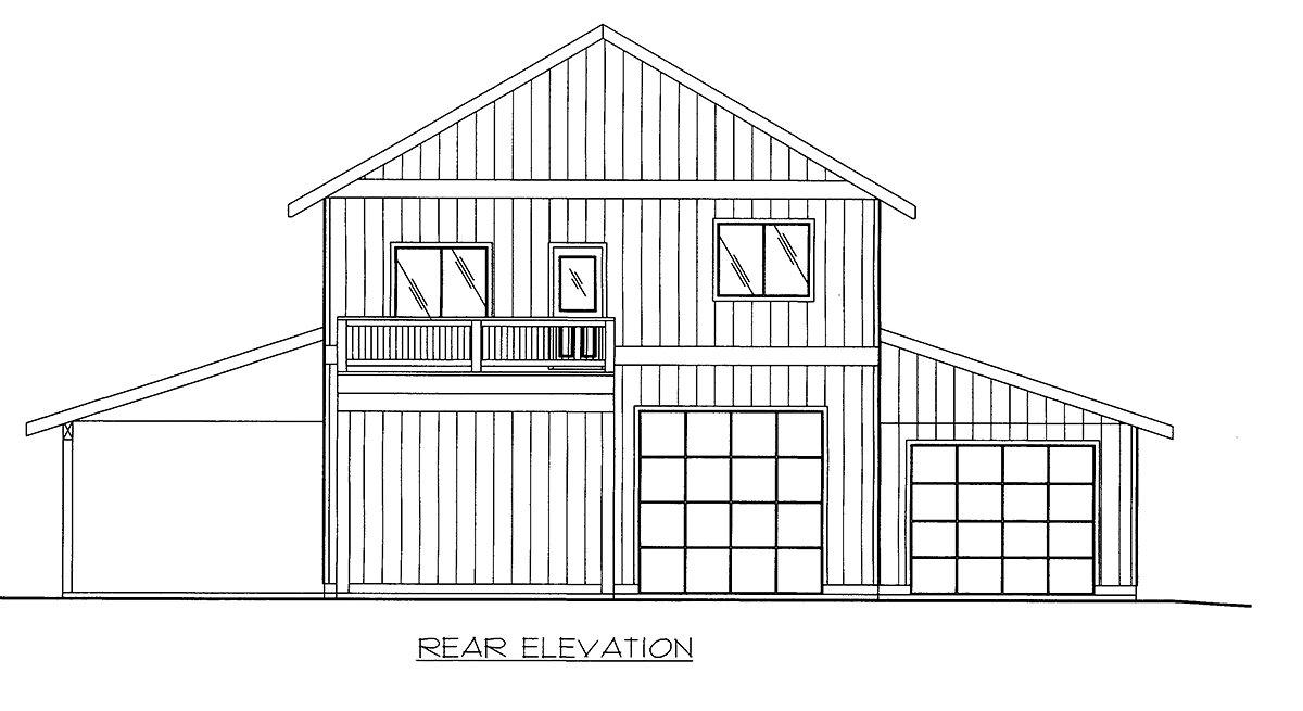 Contemporary, Farmhouse Garage-Living Plan 86568 with 2 Beds, 3 Baths, 5 Car Garage Rear Elevation