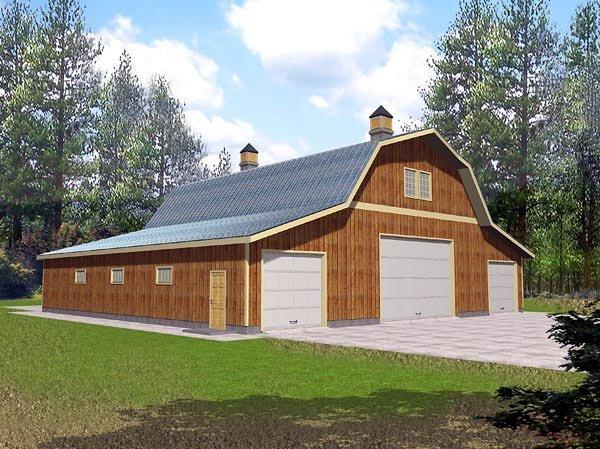 6 Car Garage Plan 86889 Elevation