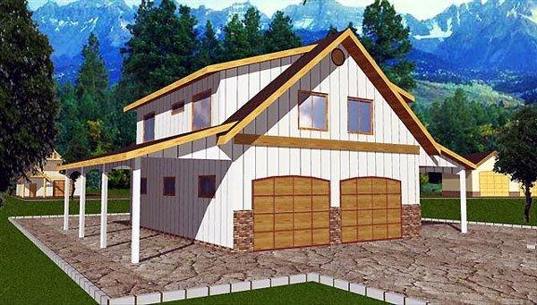 4 Car Garage Apartment Plan 86898 with 2 Beds, 1 Baths Elevation