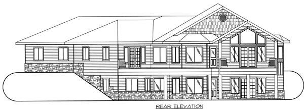 One-Story, Traditional House Plan 87203 with 3 Beds, 4 Baths, 3 Car Garage Rear Elevation