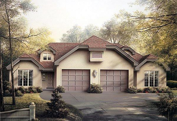Traditional Multi-Family Plan 87352 with 4 Beds, 4 Baths, 2 Car Garage Elevation