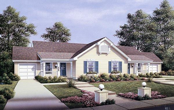 Country, One-Story Multi-Family Plan 87353 with 4 Beds, 2 Baths, 2 Car Garage Elevation