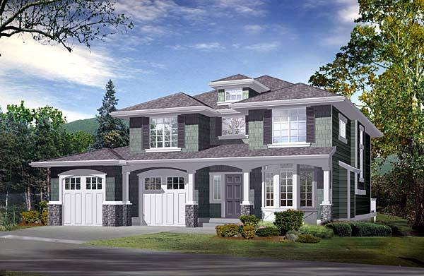 Southwest, Traditional House Plan 87503 with 3 Beds, 4 Baths, 2 Car Garage Elevation