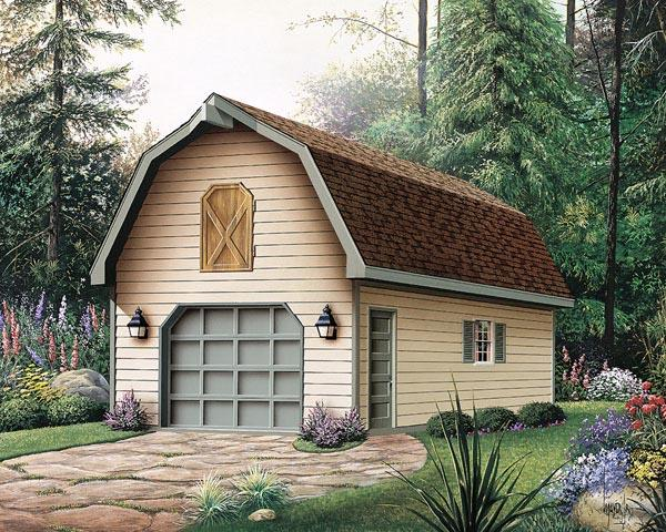 1 Car Garage Plan 87865 Elevation